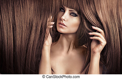 elegante, corte cabelo, senhora, bonito, retrato