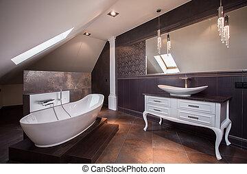 elegante, cuarto de baño, marrón