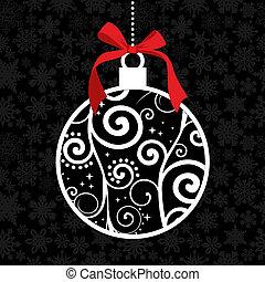 elegante, cuelgue, bauble de navidad