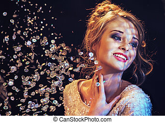 elegante, dama, gustos, lujo, cristales