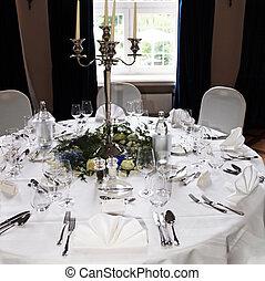 elegante, decorato, festivo, tavola