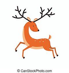 elegante, deer., vector.
