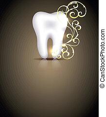 elegante, dental, diseño, con, dorado, remolinos, elemento