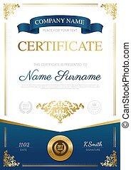 elegante, desenho, certificado