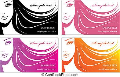 elegante, desenho, woman.template, cartão, rosto