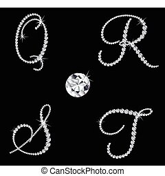 elegante, diamante, alfabético, letters., vector, conjunto,...