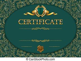 elegante, diploma, modelo, certificado