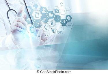 elegante, doctor, trabajando, operar, médico, habitación, ...