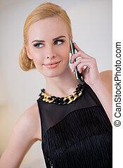 elegante, donna telefono, carino, chiamata
