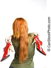 elegante, donna, verniciato, scarpe, rosso