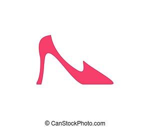 elegante, donne, vettore, scarpa, icona