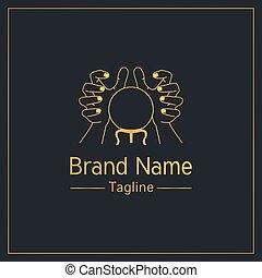 elegante, dorado, logotipo, narración, diseño, plantilla, fortuna