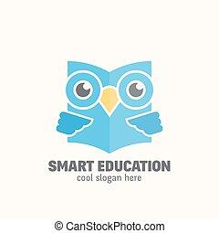 elegante, educación, resumen, vector, logotipo, template., aprendizaje, emblem., plano, estilo, sabio, búho, libro de lectura, concepto, con, typography.