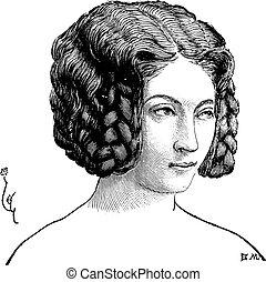 elegante, engraving., vindima, penteado