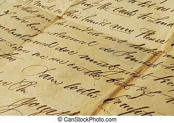 elegante, escritura, carta, viejo