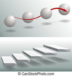 elegante, esfera, escadas, negócio, gráficos