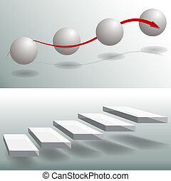 elegante, esfera, escaleras, empresa / negocio, gráficos