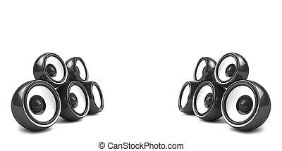 elegante, estéreo, negro, sistema