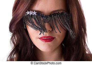 elegante, excitado, mulher, óculos, criativo