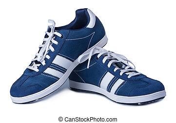 elegante, experiência., sapatos brancos, novo
