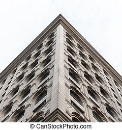 elegante, facade., hermoso, edificio