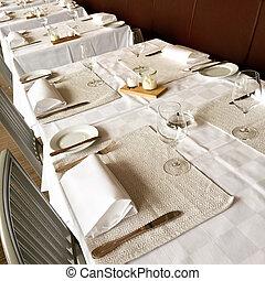 elegante, fijar la tabla, restaurante