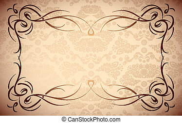 elegante, floral, marco, |, frontera, -, seamless, damasco,...
