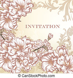 elegante, floral, vetorial, convite