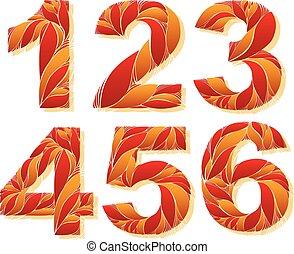 elegante, flower-patterned, figuras., ornamental, números,...