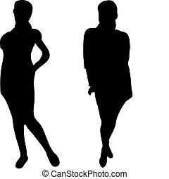 elegante, fondo., silhouette, 2, bianco, donne
