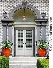 elegante, frente casa, porta