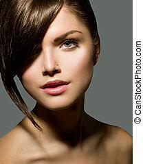 elegante, fringe., menina adolescente, com, cabelo curto, estilo