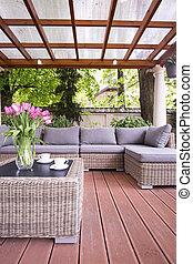 elegante, furnitures, terraza