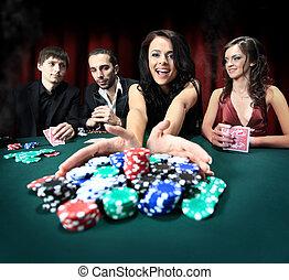 elegante, gana, mujer, casino