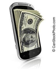 elegante, ganancia, teléfono, dinero
