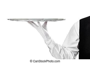 elegante, garçom, segurando, vazio, bandeja prata