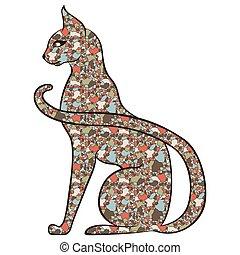 elegante, gato, mosaico