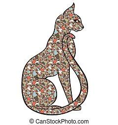 elegante, gato, mosaico, serio