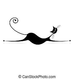 elegante, gato negro, silueta, para, su, diseño