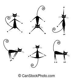 elegante, gatos, siluetas, negro, para, su, diseño