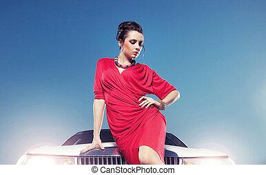 elegante, giovane signora, davanti, uno, bianco, automobile