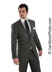 elegante, guapo, hombre, en, traje