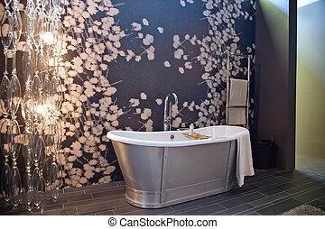 elegante, habitación, baño