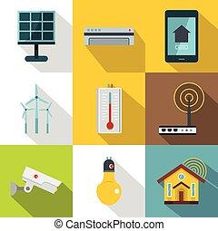elegante, hogar, conjunto, estilo, dispositivos, plano, ...