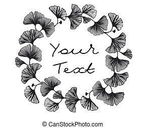 elegante, hojas, leaves., wallpaper., ginkgo, papel pintado, logotipos, vector, yellow-gold, resplandor, ilustración, diseño abstracto, seamless, negro, textil, biloba., tela