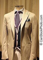 elegante, hombres, traje