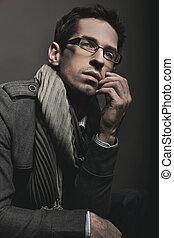 elegante, homem negócios, Retrato