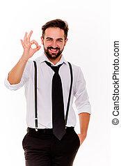 elegante, homem sorridente, em, camisa branca, mostrando, ok.