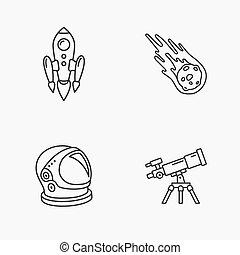 elegante, icone, spazio, quattro