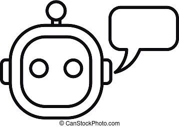 elegante, icono, estilo, chatbot, contorno